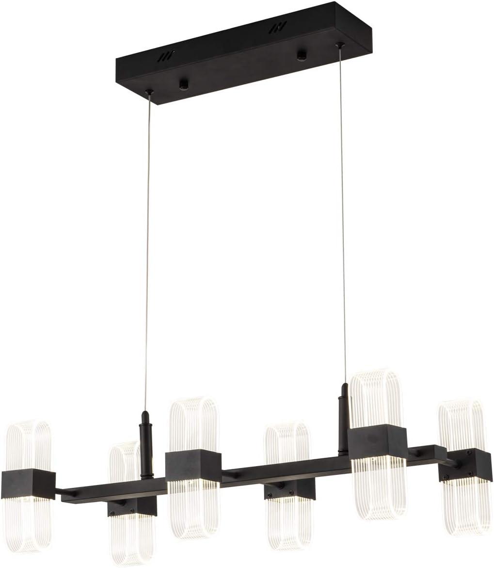 Modern Kitchen Island Light LED Chandelier Contemporary 6-Pendant Lighting 50W 4000lm Adjustable Hanging Ceiling Light for Living Room Foyer Hallway Bar Dining Room, 4000K Nature White, Matte Black