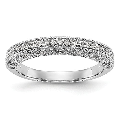 JewelrySuperMart Collection 1/4 CT 14k White Gold Round Diamond Wedding Band with Cut Out Sides. 0.25 - Shank Lockshank