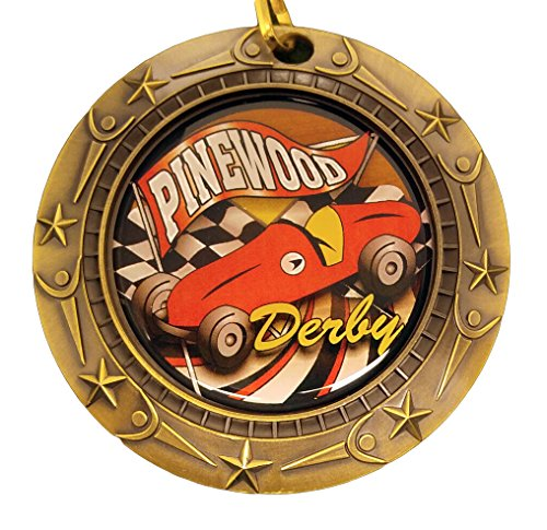 Pine Wood Derby Trophy (Gold Pinewood Derby World Class Medal with Red, white & blue v-neck ribbon / Cub Scouts (Gold))