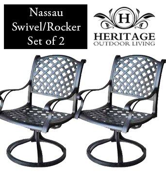 (Heritage Outdoor Living Nassau Cast Aluminum Swivel Rocker - Set of 2 - Antique)