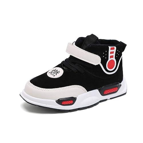 Otoño Invierno Niñas Niños Moda Alta Zapatillas Altas Negras con Velcro Niños Cuero Zapatillas Informales Niño Zapatos cómodos cómodos para niños pequeños: ...