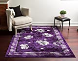 Homemusthaves Super Soft Floral 3-Dimentional Modern Contemporary Polyester Area Rug Carpet Living Room Bedroom Rug Carpet Floor Hand Carved Rug Carpet (5'3 x 7'2, Purple) Review