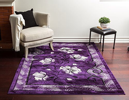 (Home Must Haves Super Soft Floral 3-Dimensional Modern Contemporary Polyester Area Living Room Bedroom Floor Hand Carved Rug Carpet, Size: 8'x10' )