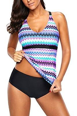 Uniarmoire Racerback Tankini Swim Top Wave Swimsuits for Women
