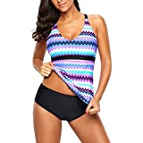 Uniarmoire Two Piece Tankini Set Wave Swimsuits for Women