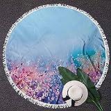Luxury Thick Round Beach Towel Flower Round