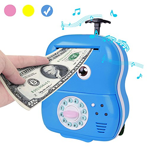 Cartoon Piggy Bank,Unee1 Automatic Roll Electronic Password Cash Coin Bank with Music Big Eye Blink Trolley Child Case Box Gift for Kids (Blue)