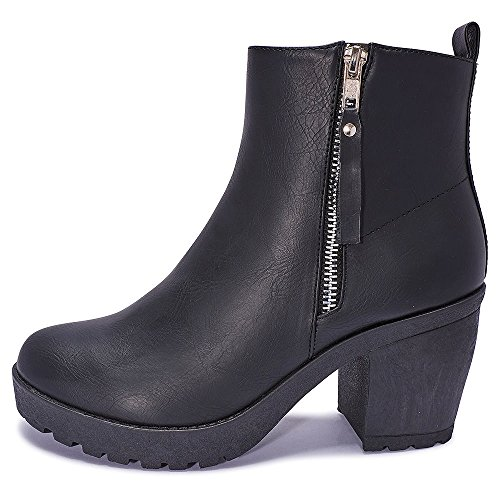 644f4542d89 Tilly London Womans Ladies Girls Chelsea Ankle Black Zips Grip Soles Chunky  Festival Office Boots Sizes 3 4 5 6 7 8 Flat High Block Heel. by tilly  london