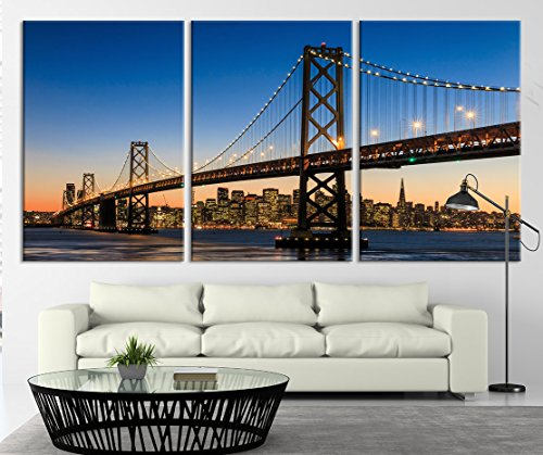 Large Art San Francisco Skyline and Bay Bridge At Sunset, California Canvas Print, Extra Large Skyline San Francisco Wall Art Print - 20x30 Inch Each Panel- 60x30 Inch Total