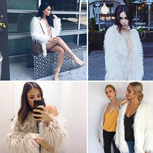 de Parka señoras Nuevas piel del la capa chaqueta mujeres de de de caliente sintética Prendas invierno Fox de Blanco abrigo las OverDose AHwqTIngT