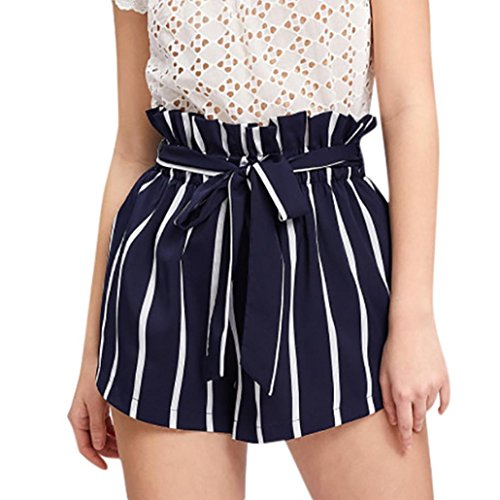 (Women Retro Stripe Casual Fit Elastic Waist Pocket Self Tie Short Pants Navy-1, CN L)
