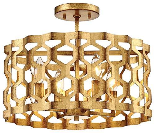 Metropolitan N6772-293 Coronade Semi Flush Mount, 4-Light 240 Total Watts, Pandora Gold Leaf
