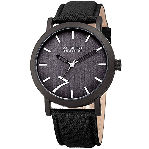 August-Steiner-Mens-Quartz-Stainless-Steel-and-Leather-Casual-Watch-ColorBlack-Model-AS8238BK