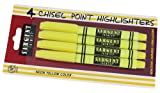 Sargent Art 22-1563 4-Count Fine Tip Yellow Highlighter, Blister Pack