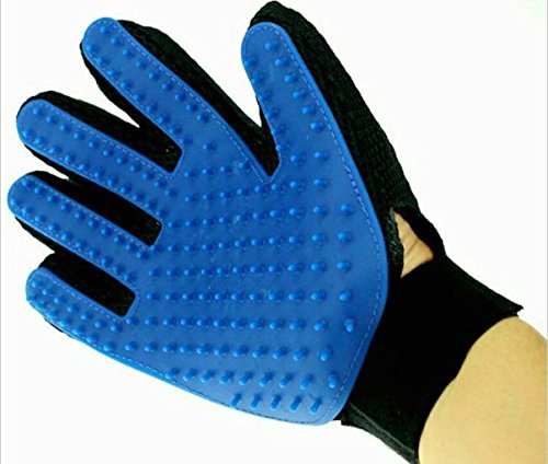 Pet Brush Glove Dog Cat Gentle Efficient Grooming pet hair glove for animals removing hair (Left Hand, Blue)