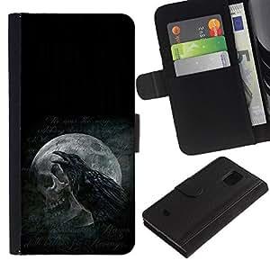 Protector de cuero de la PU de la cubierta del estilo de la carpeta del tirón BY RAYDREAMMM - Samsung Galaxy S5 Mini, SM-G800 - Cuervo y del cráneo