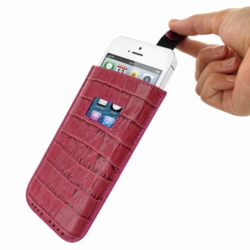 Piel Frama U598COP Krokodil Optik Pull Ledertasche für Apple iPhone 5/5S/5C pink