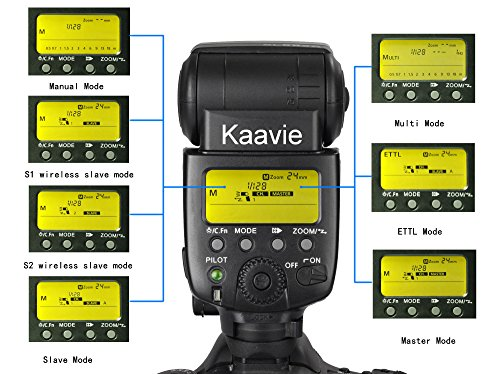 Kaavie - -Travor SL-582C Large 2.2' LCD display ETTL Autofocus Master Speedlite Flash for Canon DSLR Digital Camera - GN58 @ ISO100, 105mm, support ETTL, M, Multi mode