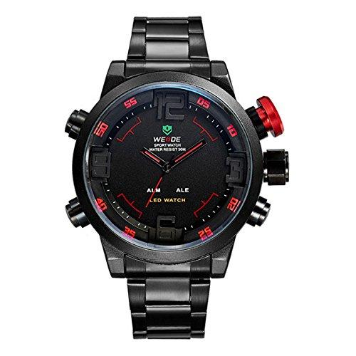 Nuevos relojes de los hombres maduros sub-diales de reloj de pulsera de cuarzo analógico de imitación de la correa de cuero para el diseño de negocios 6ESJ: ...