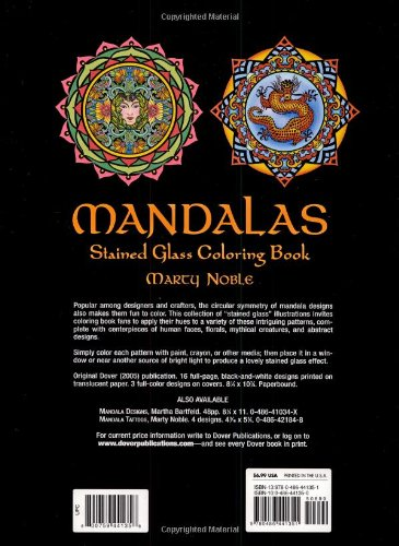Mandalas Stained Glass Coloring Book Dover Design