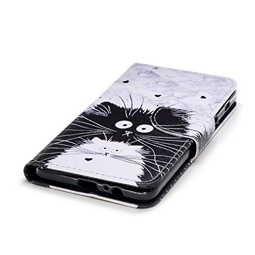 Samsung Galaxy A8+ 2018 / A7 2018 Hülle, Chreey PU Leder Schutzhülle mit Feder Traumfänger Muster Bumper Flip Wallet Case Handyhülle Totoro