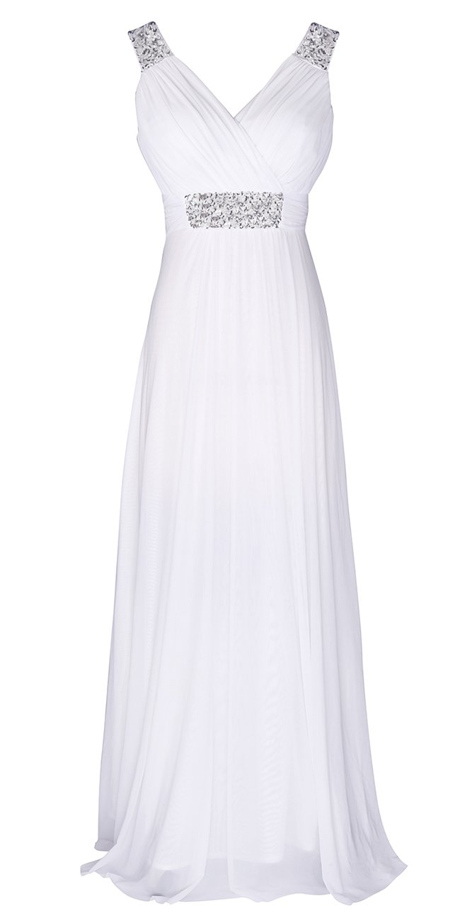 Conail Coco Women Ruched Waist Rhinestone Casual Tulle Semi-Formal Long Wedding Bridesmaid Dress (Medium, 44White)