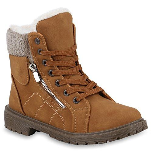 Stiefelparadies Damen Stiefeletten Worker Boots Blockabsatz Zipper Kunstpelz Flandell Hellbraun