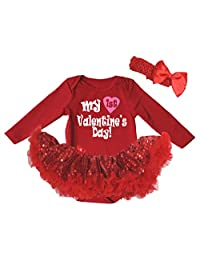 Petitebella My 1st Valentine's Day L/s Bodysuit Red Sequins Tutu Nb-18m