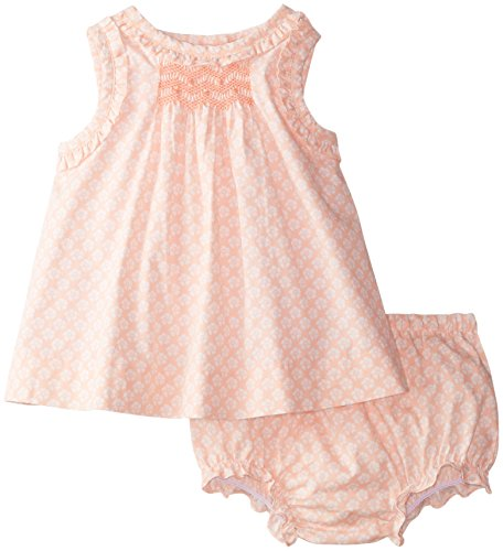 Laura Ashley London Baby-Girls Newborn Flyaway Back Dress, Peach, 3-6 Months