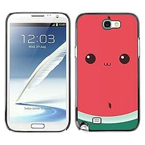 All Phone Most Case / Hard PC Metal piece Shell Slim Cover Protective Case Carcasa Funda Caso de protección para Samsung Note 2 N7100 funny watermelon cute drawing eyes