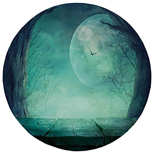 Round Rug Mat Carpet,Halloween Decorations,Spooky Forest Moon and Vain Branches Mystical Haunted Horror Rustic Decor,Teal,Flannel Microfiber Non-Slip Soft Absorbent,for Kitchen Floor Bathroom ()