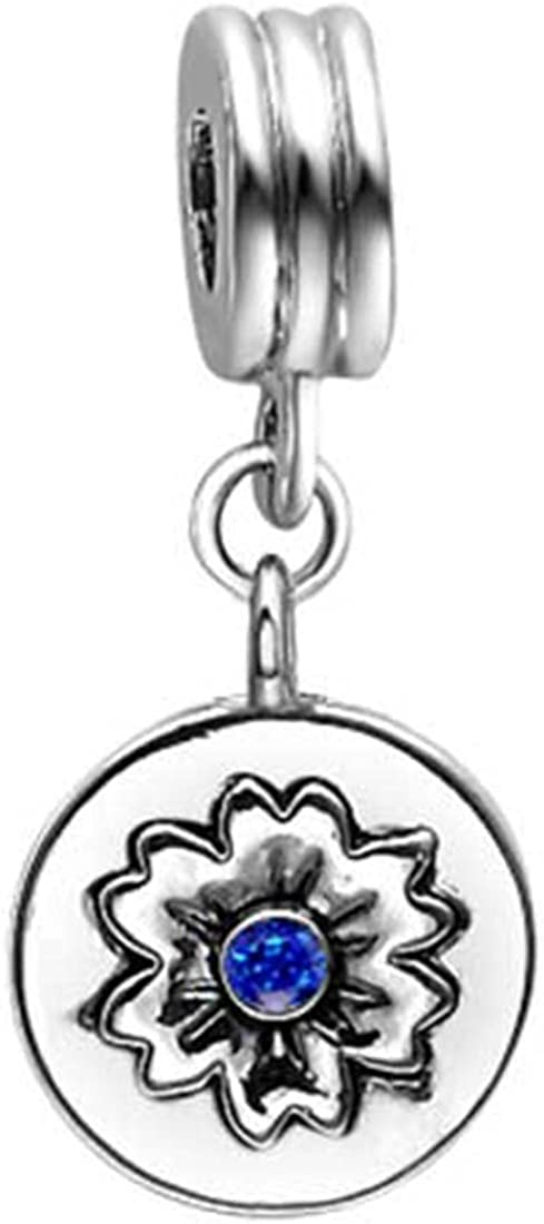 GiftJewelryShop Travel Culture China Photo Sapphire Crystal September Birthstone Flower Dangle Bead Charm Bracelets