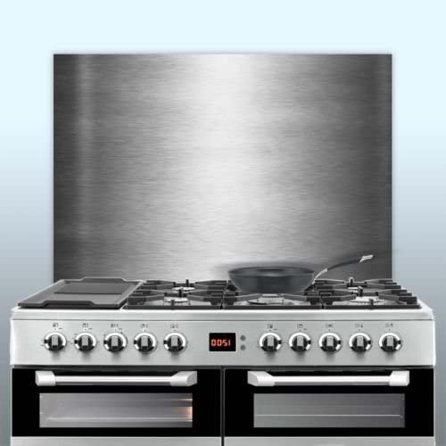 Displaypro 0.9mm Thick Brushed Stainless Steel Kitchen Cooker Hob Wall Splashback (600, 500)