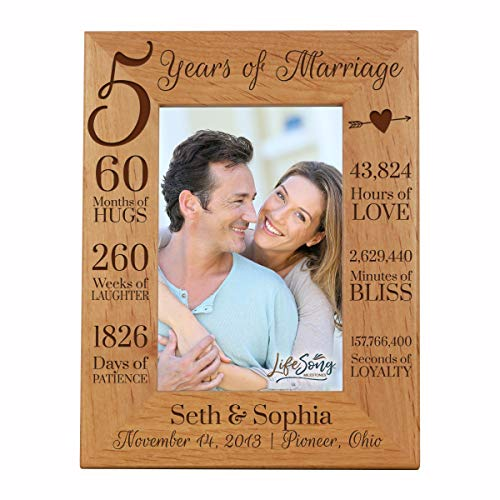 LifeSong Milestones 5th Anniversary Picture Frame 5 Years of Marriage - Five Year Wedding Keepsake Gift for Parents Husband Wife him her Holds 5x7 Photo - Personalized (7.5x9.5)