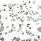 CRYSTAL AB (001 AB) Tiny small sizes mixed with Swarovski 2058 Xilion Rose flatbacks sizes ss3, ss5, ss6, ss7, ss9, ss10 No-Hotfix rhinestones nail art 144 pcs (1 gross) *FREE Shipping from Mychobos (Crystal-Wholesale)*
