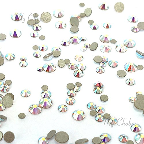 CRYSTAL AB (001 AB) Tiny small sizes mixed with Swarovski 2058 Xilion Rose flatbacks sizes ss3, ss5, ss6, ss7, ss9, ss10 No-Hotfix rhinestones nail art 144 pcs (1 gross) *FREE Shipping from Mychobos (Ss9 Xilion Rose)