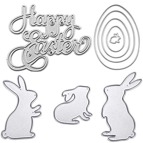 (TuoShei Easter Die Cuts for Card Making Happy Easter Letter and Bunny Rabbit Metal Stencil Template for DIY Scrapbook Album Paper Card Embossing (Style)
