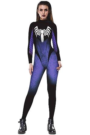 Honeystore Women s Skeleton Halloween Costume Catsuit Bodysuit Cosplay  Jumpsuits BAX002 S f163195ed
