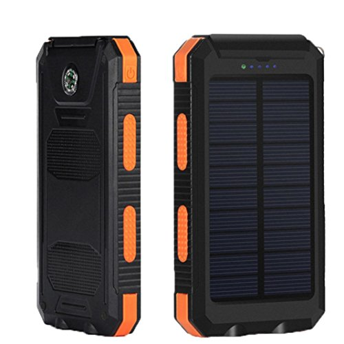 Creazy 10000mAh Dual USB Solar Energy Power Bank Battery DIY Box Case With LED Light (yellow)