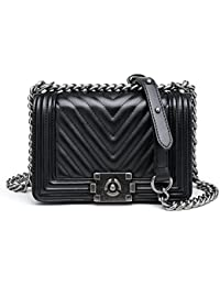 Women Fashion Shoulder Bag Genuine Leather Handbag Quilted Crossbody Bag with Chain