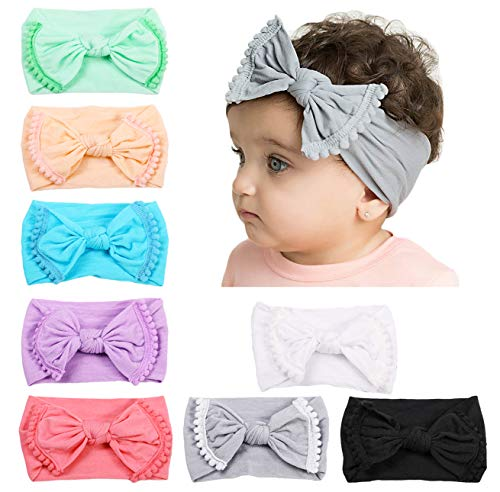 Baby Girl Nylon Headbands Newborn Infant Toddler Hairbands Bow Knotted Children Soft Headwrap Hair Accessories]()