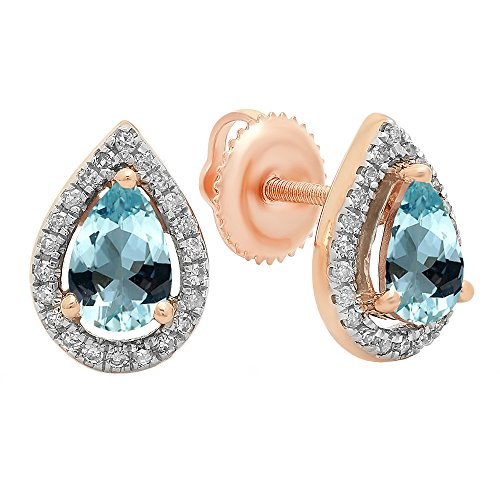 Aquamarine Pear Earrings - Dazzlingrock Collection 14K 6X4 MM Each Pear Aquamarine & Round Diamond Ladies Halo Stud Earrings, Rose Gold