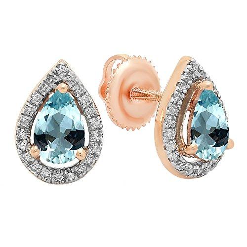 - Dazzlingrock Collection 14K 6X4 MM Each Pear Aquamarine & Round Diamond Ladies Halo Stud Earrings, Rose Gold