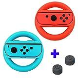 Qumox Steering Wheel Controller Case Handle Grip L+R Travel Holder Case set - Red/Blue & Thumb Grip Stick Covers set - Black For Nintendo Switch Joy-Con