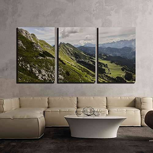 Landscape of Mountain under White Cloud x3 Panels