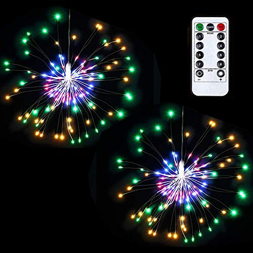 Lyhope 2 Pack Starry String Lights, Battery Powered Waterproof Dimmable Fairy Christmas Light with Remote Control 120 Led Starburst String Lights for Outdoor & Indoor, Halloween Decor (Multi-Color) -