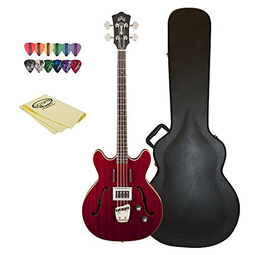Guild Starfire Bass CHR-KIT-1 Semi-Hollow Electric Bass Guitar, Cherry Red by Guild