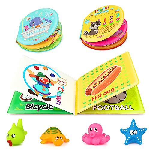 Baztoy Baby Bath Toys Book Safe & Non-Toxic Early Education Toys for Toddlers Infant Kids Bath Time Waterproof Floating Rubber Bathtub Toys Books Ocean Animals Letters Numbers Learning (Pack of 3)