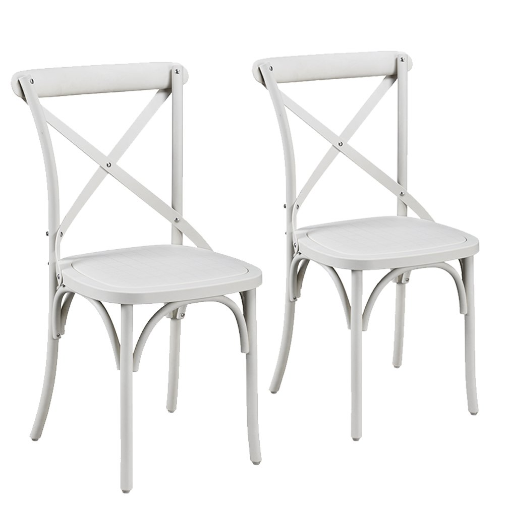 Supernova Set of 2 Nylon Accent Dining Chairs Kitchen and Office Bistro Living Room Furniture (FRENCH WHITE)