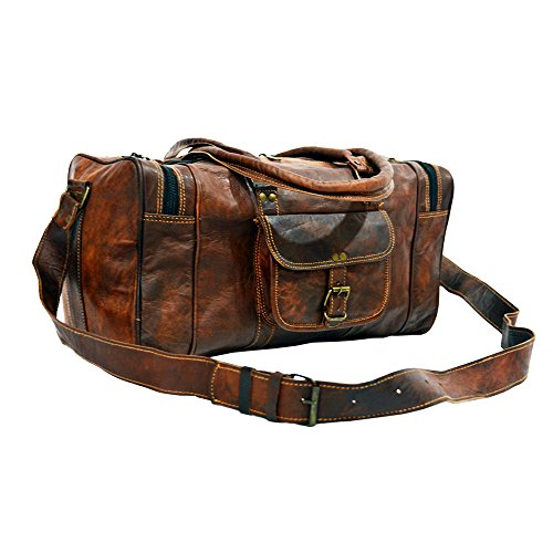 "Missoni Home Gravita Oman Leather: 22"" LEATHER DUFFEL MENS BROWN TRAVEL LUGGAGE, WEEKEND"